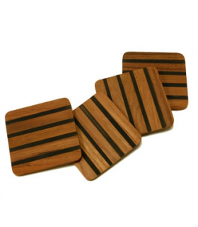 Set of 4 black-jointed coasters Burmese teak
