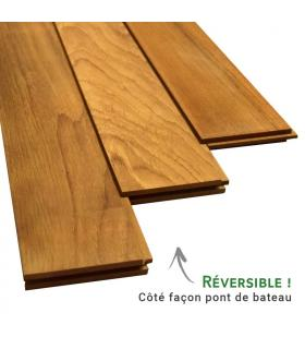Double-sided solid teak parquet flooring 1m² - width 90 mm